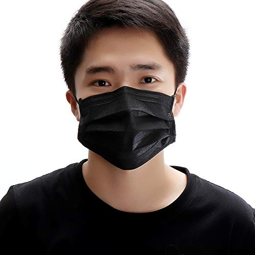 50pcs Disposable Activated Carbon Face Mask 4 Layer Doctor Masks Black Color Anti Dust Virus -
