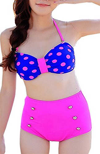 dextrad athletic-two-piece-swimsuits High Waist Polka Dots Vintage Bathing Suit Swimwear Bikini