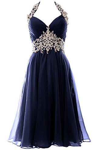 MACloth Gorgeous Short Prom Homecoming Dress Halter Wedding Party Formal Gown Azul Marino Oscuro