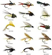 Fly Fishing Lures Wet Assortment for Trout Fishing and Other Freshwater Fish - 15/30 Dry Flies - 15 Patterns -