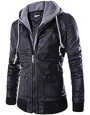 معطف جلدي من Coolred للرجال وهمية قطعتين بسحاب مقنعين للخروج