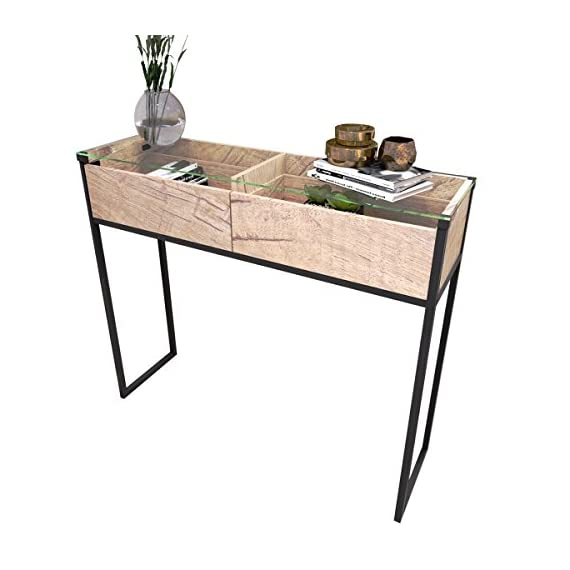 Tilly Lin Clear Glass Top Console Table, Sofa Table with 2 Drawers, Accent Display, Vintage Oak - 5 mm thick tempered glass top,clear tempered glass is strong and durable. Can be used as office workstation, meeting desk, home desk, credenza, TV stand. Put it in the entryway or behind a sofa, and also makes a chic media stand with straight industrial black metal table frame. Two drawers provide ample storage space, handy drawer display all your home essentials and organizes your items with the 2 drawer divider - living-room-furniture, living-room, console-tables - 41oNr18dSbL. SS570  -