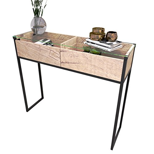Tilly Lin Clear Glass Top Console Table, Sofa Table with 2 Drawers, Accent Display, Vintage Oak