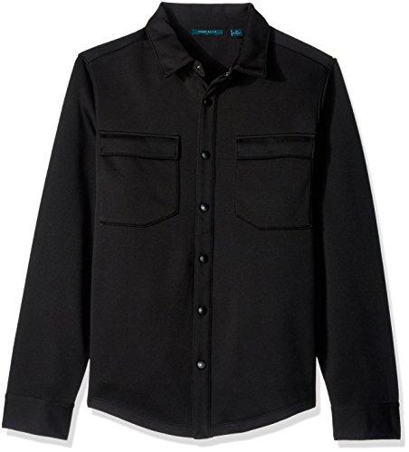 Perry Ellis Men's Textured Shirt Knit Jacket, Black L