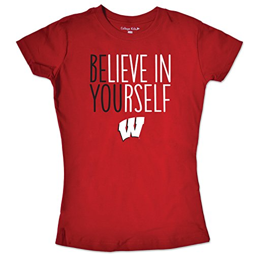 (NCAA Wisconsin Badgers Girls Short Sleeve Tee, Size 7/X-Small, Red)