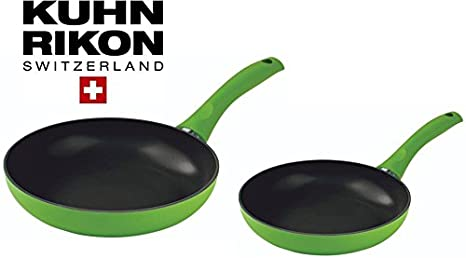 Kuhn Rikon Colori Cucina Inducción Sartenes (24 y 28 cm de diámetro en verde: Amazon.es: Hogar