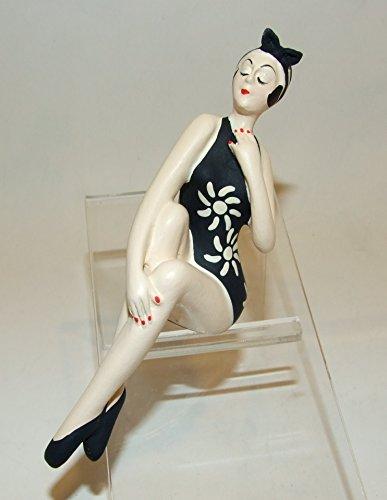Bathing Beauty Figurine Figure Shelf Sitter Black & White Floral Print Art Deco Art Deco Floral Print
