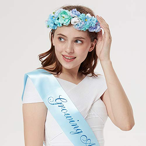Growing a Prince Sash Flower Crown Kit – Baby Shower Sash Prince Baby Boy Shower Baby Sprinkle Blue