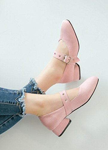 Aisun Womens Square Toe Buckled Cute Low Cut Dressy Chunky Low Heel Ankle Strap Mary-Jane Pumps Shoes Pink YHQrGYD6C