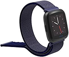 Feskio Fitbit Versa Smartwatch Loop, Correa de Nailon Tejido, Cierre de Velcro, Correa de muñeca, Correa de Repuesto para Reloj Fitbit Versa