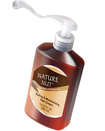 Nature Nut Leave In Conditioner for Dry and Damaged Hair - 5 Nut Oil Curl Defining Styling Cream Hair Moisturizer Repair Treatment for Wavy Curly Hair