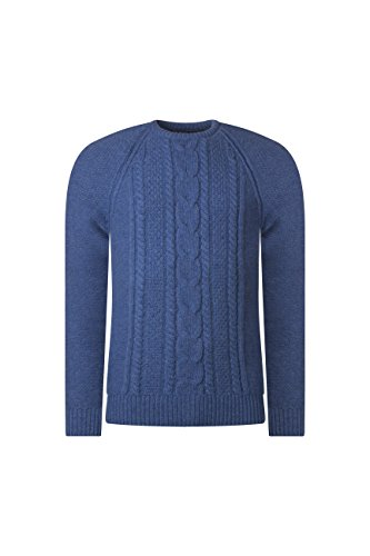 Mens Made In Scotland 100% Lambswool Cable Knit Crew Neck Pullover-Jeans-Large