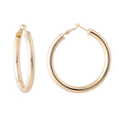 Paialco Jewelry 14K Yellow Gold Flashed Polished Round Hoop Earrings Creole Back, 2.0 (Smith 14k Ring)