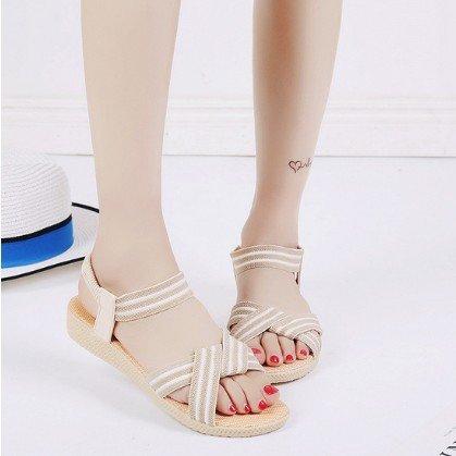 estate elastico sandali yalanshop raccordo di semplice sandals beige 2611 39 colore di solido fondo Roman pesce Roma piatto pwORt