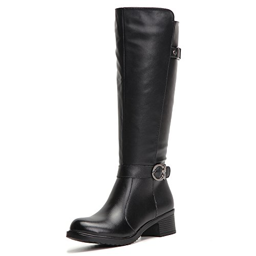 HUSK'SWARE Fashion Women Boots Knee High Boots Winter Warm Boots Black Colors Riding Women Boots Black