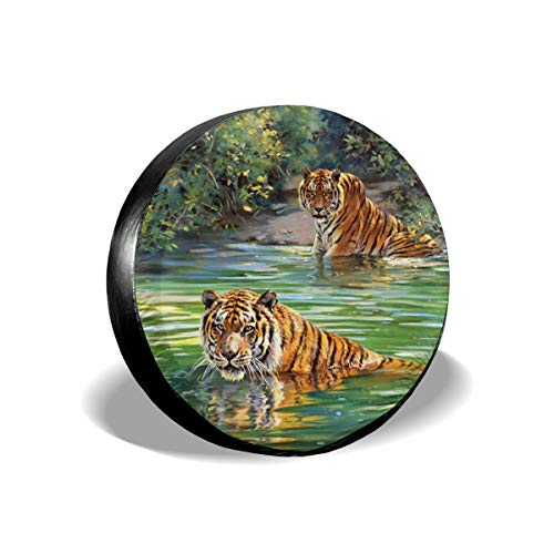 - Spare Tire Covers Jungle Tiger Waterproof Dust-Proof Sun Protectors Universal Wheel Cover Fit for Jeep,Trailer, RV, SUV and Many Vehicle 14