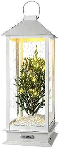 WeRChristmas Pre-Lit Led Snowing Christmas Tree Lantern Christmas Decoration 48 cm - White