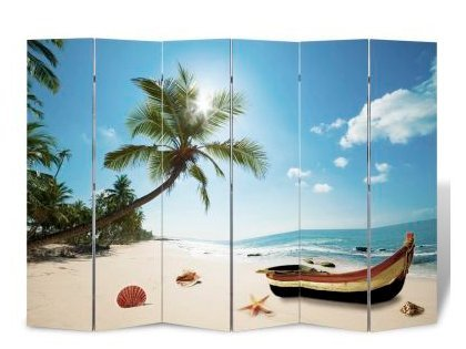 SKB Family Room Divider Beach Print 94.5'' x 70.9'' organize home printed double sided foldable
