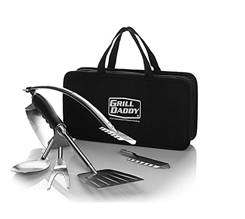 - Grill Daddy BBQ Tailgate Grill Accessories Set — 6 Piece Full Size Barbeque Set — Spatula Tongs Fork Spoon and Multitool — Comes in Nice Carrying Case — Great Gift — Easy Storage