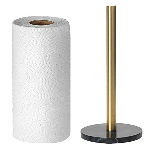MyGift Brass Metal & Black Marble Base Paper Towel Roll Holder