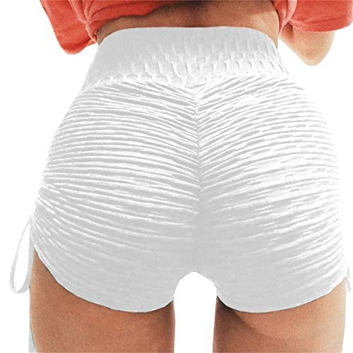 (Meilidress Womens Ruched Butt Lifting High Waisted Grain Sport Tummy Control Gym Yoga Lace Up Active Shorts)