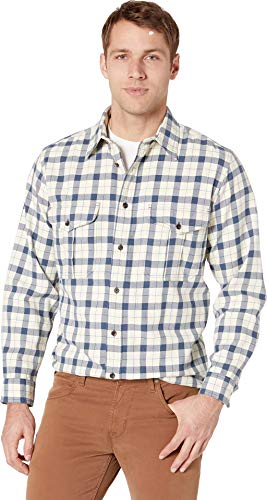 Filson Men's Lightweight Alaskan Guide Shirt Natural/Blue Heather Plaid Large