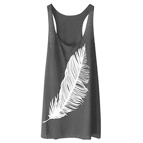 Gallon 10 Tank Measurements - Womens Tunic Tank Tops,SMALLE◕‿◕ Women's Summer Sleeveless Feather Tank Tops Casual Graphic Tee Yoga Loose Fit Tank Tops Gray