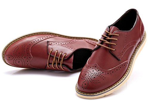 Fangsto Mens Oxfords In Pelle Brogues Flats Scarpe Stringate Burgundy