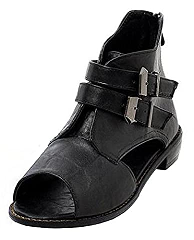 Easemax Women's Casual Buckled Strap Peep Toe Cut out Low Heel Zipper Ankle High Gladiators Sandals Black 8 B(M) - Retro Peep Toe