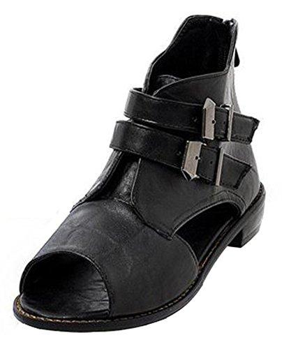 Easemax Donna Casual Cinturino Con Fibbia Peep Toe Cut-out Tacco Basso Cerniera Alla Caviglia Sandali Gladiatori Alti Nero