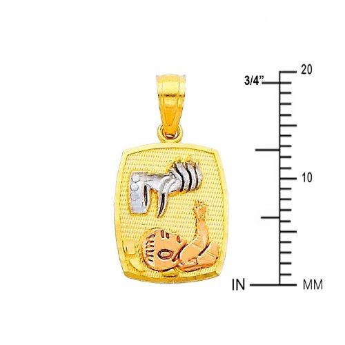14k Tri Color Gold Religious charm Pendant
