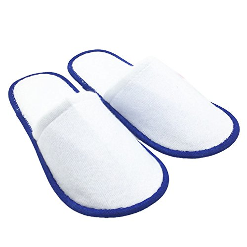 SODIAL(R) Disposable Slippers 10 pairs of White Towelling Hotel Disposable Slippers Terry Spa Guest Shoes Blue