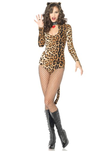 Leg Avenue Women's 2 Piece Wildcat Keyhole Teddy Costume With Tail And Ear Headband, Leopard, (Leopard Costumes Adult)