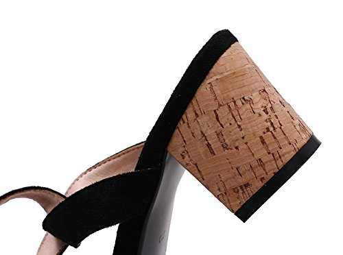 Materials Women's Solid EGHLH005565 WeiPoot Blend Heels Kitten Open Black Sandals Toe xEBCqwBf