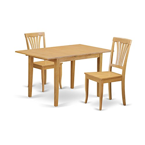 East West Furniture NOAV3-OAK-W 3 Piece Table and 2 Chairs Set
