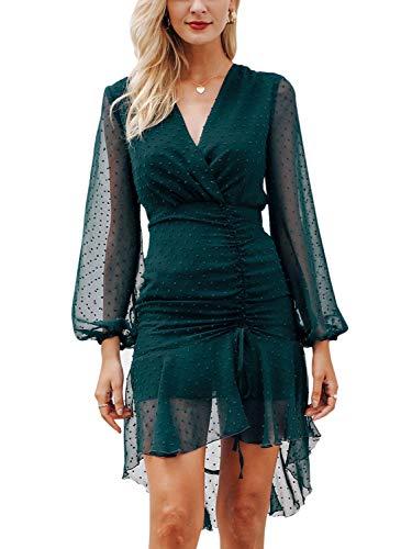 (Missy Chilli Women's Long Sleeve V Neck Chiffon Wrap Mini Dress Cocktail Wedding Dress Green 4/6 )