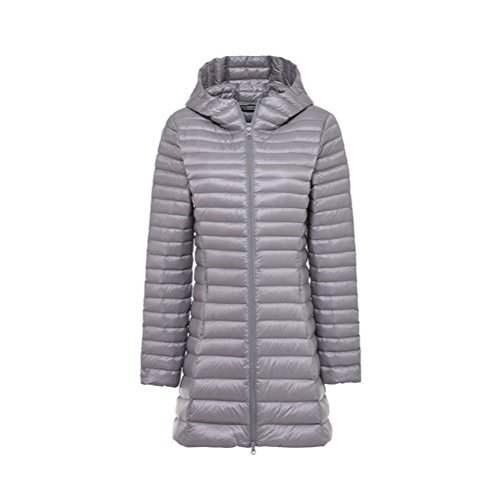 Weight Light Style Jacket Down Hooded Women's XICHENGSHIDAI Grey Mediun Long 6TqBw
