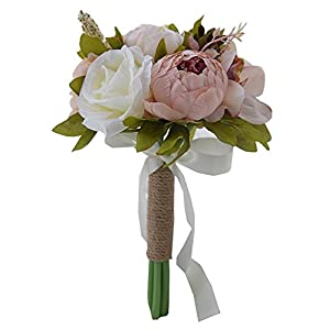 Jackcsale Bridesmaid Wedding Bouquet, Artificial Silk Roses and Peony Vintage Rustic Style Satin Roses Wedding Flower D532