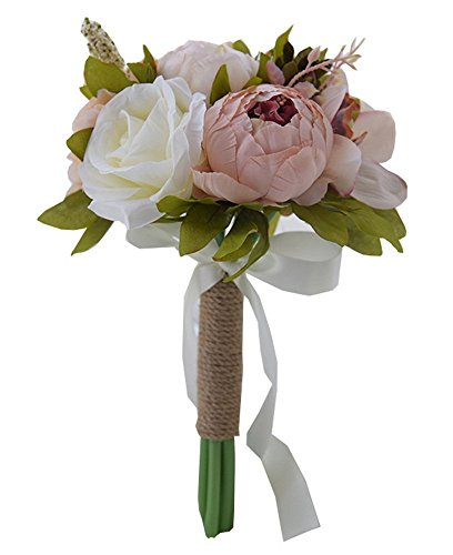 (Zippersell Bridal Wedding Bouquet,Artificial Bridal Bride Brooch Bouquets,Handmade Vintage Rustic Style Satin Roses Wedding Flower (D532))