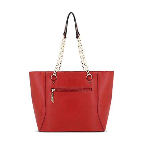 Glamourös Doppelbogen Schultertasche für Damen LYDC London Handtasche mit Top Reißverschluss Tasche (Sahne) Wine In6xPAT