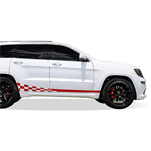 (Bubbles Designs Decal Sticker Vinyl Side Wavy Finishing Stripe Kit Compatible with Jeep Grand Cherokee 2011-2017)