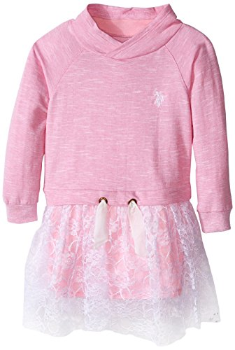 U.S. Polo Assn. Little Girls' Toddler French Terry Mock Neck and Neon Lace Dress, Prism Pink, (French Terry Mock Neck)