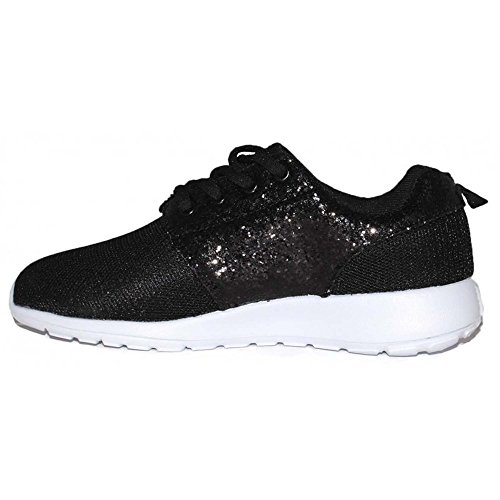 Lace Black Pumps Trainers Ladies Size Gym Womens Sparkly Fitness Up Sneakers Glitter q6fn5W8P5