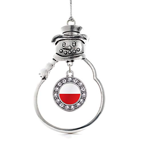 (Inspired Silver - Poland Flag Charm Ornament - Silver Circle Charm Snowman Ornament with Cubic Zirconia Jewelry)