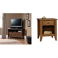 Sauder August Hill Corner Entertainment Stand, Oiled Oak Finish + Sauder Shoal Creek Night Stand, Oiled Oak_Bundle
