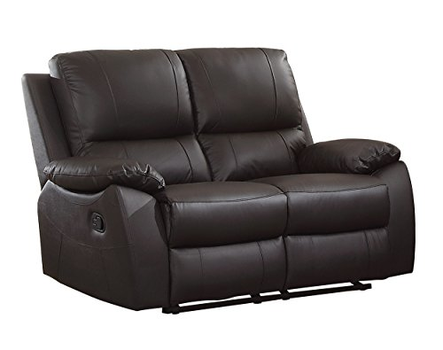 Homelegance Greeley Reclining Loveseat Top Grain Leather Match, Brown