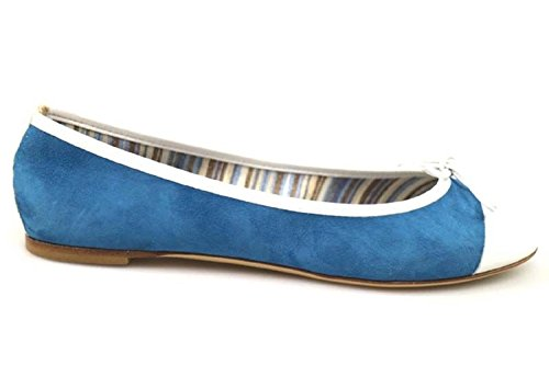 18 KT by DANIELE ANCARANI Ballet Flats Flats Flats Blue White Suede Leather AR22 (6, 5 US / 36, 5 EU) B01H3DTF1G Shoes 5587f9