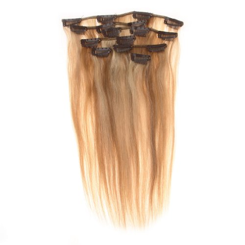 EOZY Length 24 Inch 7pcs/set 16 Clips Full Head Remy Clip in Human Hair Extensions (#18/613 Dark Ash Blond/Bleach Blond)