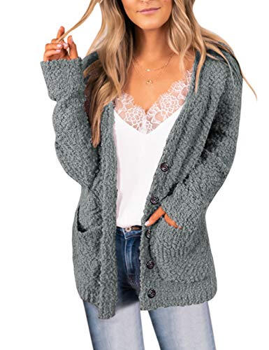MEROKEETY Women's Button Down Long Sleeve Soft Chunky Cardigan Popcorn Sweater with Pockets