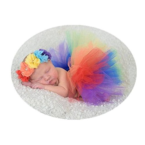 Newborn Baby Photography Props Rainbow Tutu Dress Photography Shoot Outfits Costume for Girls